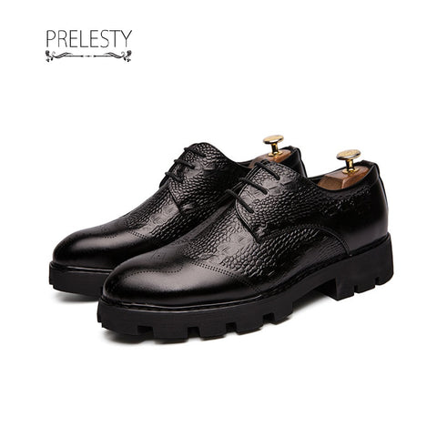 Prelesty Vintage Party Retro Luxury Men Dress Shoes Formal Crocodile Thick Outsole