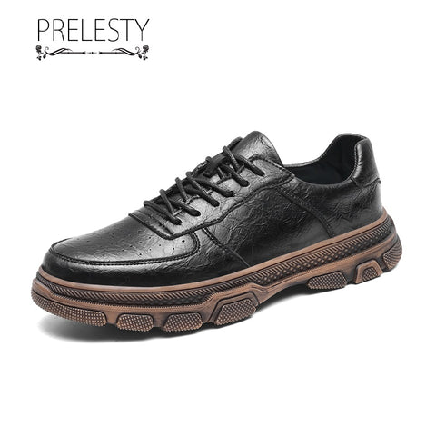 Prelesty New Men Formal Office Brogues Shoes Business Smart Genuine Cow Leather Wedding Thick Bottom