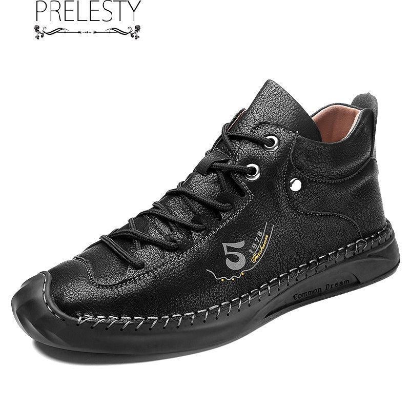 Prelesty English Style Soft Leather Men's Boots Shoes High Tops Comfortable Good Quality