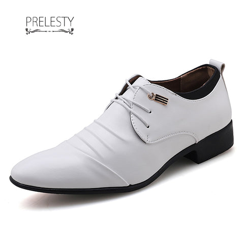 Prelesty Wedding Leather Men Dress Shoes Oxfords Business Office Style Handsome Cool