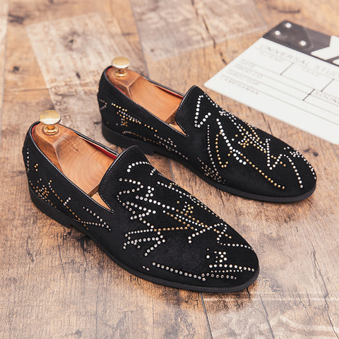 Prelesty Fashion Men Dress Formal Shoes Slip On Smoking Black Business Leather Shiny Pattern Cool