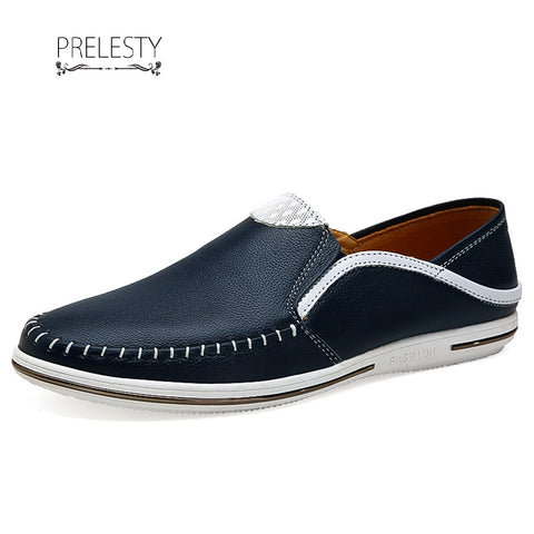 Prelesty Urban Soft Cow Leisure Leather Men Driving Shoes Summer Slip On Loafer Cool