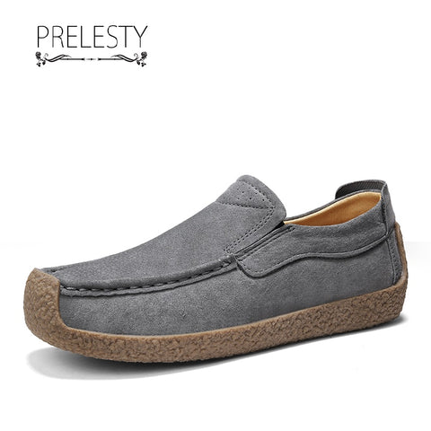 Prelesty New Durable Men Dress Shoes Loafer Genuine Cow Leather Formal Soft Rubber Bottom Comfort