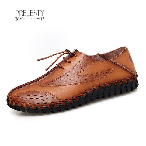 Prelesty Big Size 38~47 Retro New Brogue Men Wingtip Shoes Leather Formal