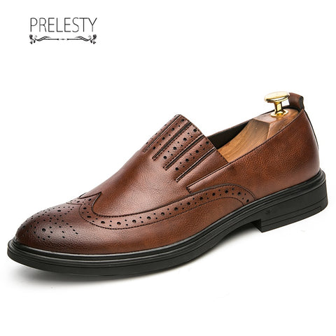 Prelesty Men Dress High Quality Leather Slip On Shoes Business Formal