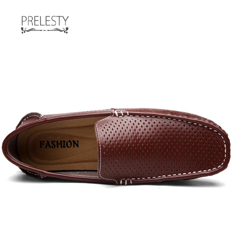 Prelesty New Men Boat Shoes Split Leather Hollow Out Moccasins Male Loafers Driving Shoes