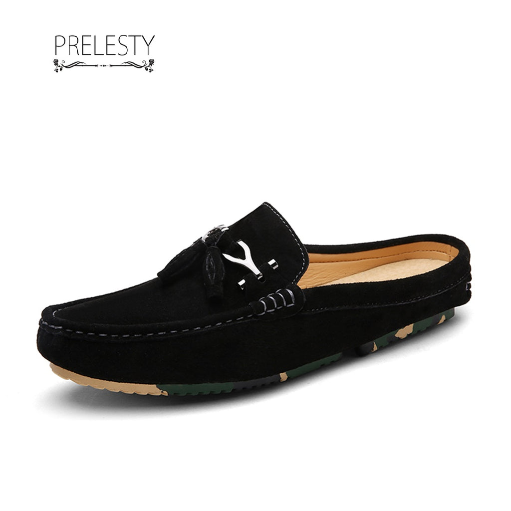 Prelesty Breathable Casual Men Driving Shoes Backless Loafers Open Backs Horsebit