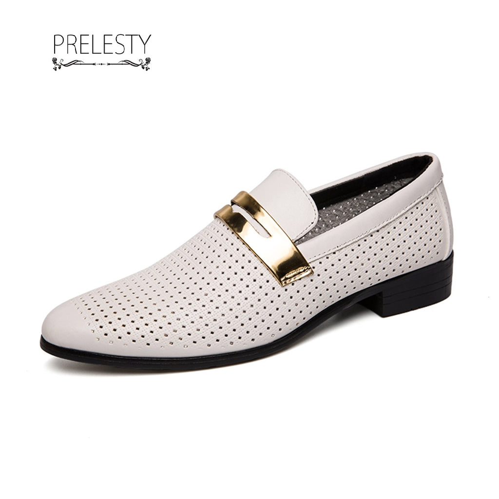 Prelesty Elegant Men Dress Shoes Formal Slip On Hollow Out Office Wedding Business
