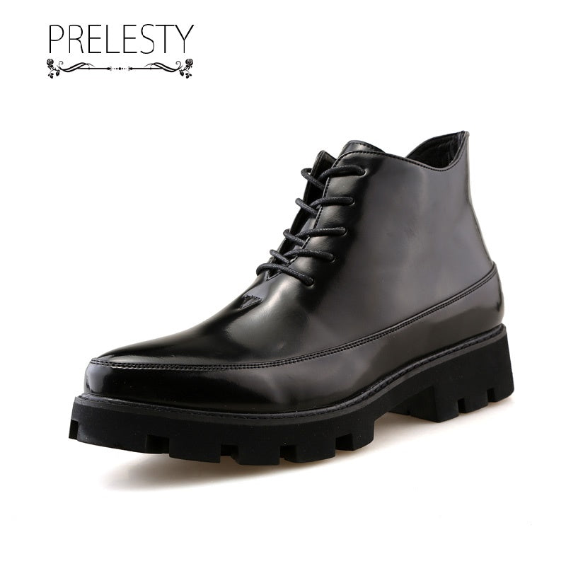 Prelesty Fashion English Classic Men Boots Shoes Vintage High Tops Handsome Breathable Thick Bottom Platform