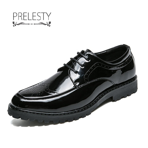 Office Gentlemen Formal Pointed Toe Business Patent Leather Oxford