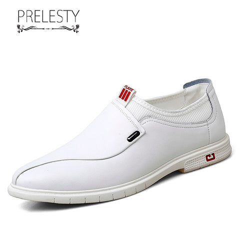 Prelesty Classic Fashion Men Formal Office Shoes Business Soft Genuine Cow Leather Dress Wedding Breathable