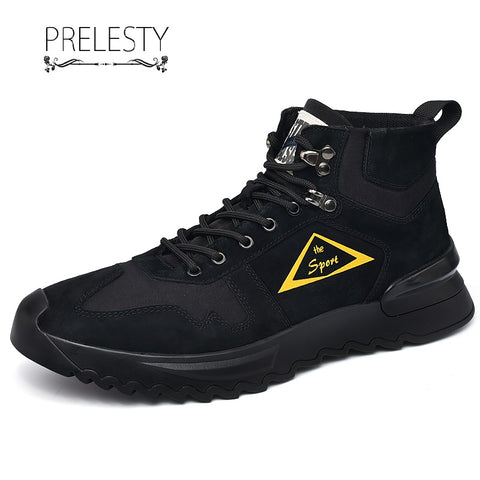 Prelesty Fashion Leather English Men's Boots Shoes Genuine Leather Rubber Bottom Durable