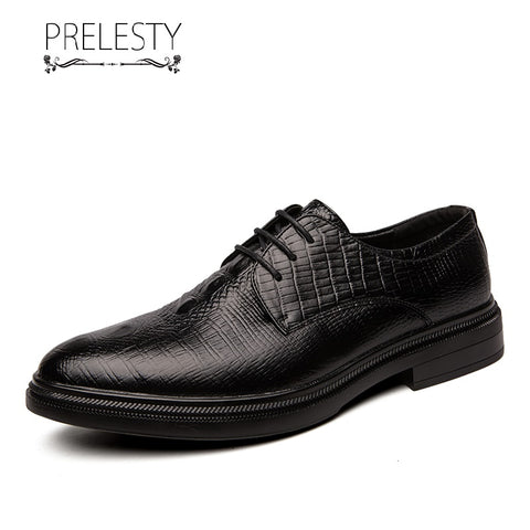 Prelesty Elegant Italian Style Formal Good Soft Men Dress Shoes Lace Up Office Brogues Crocodile Design