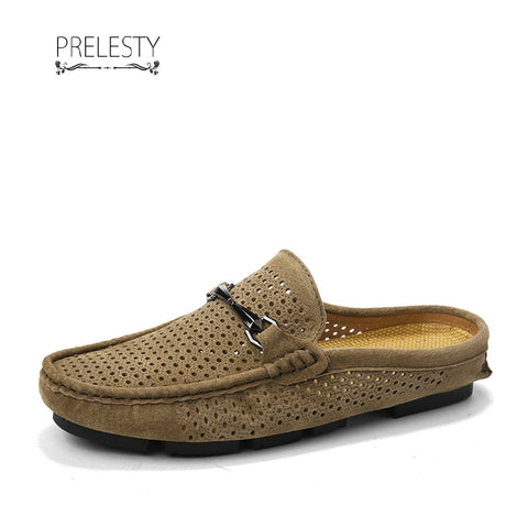 Prelesty Autumn Breathable Casual Men Driving Shoes Backless Loafers Open Backs