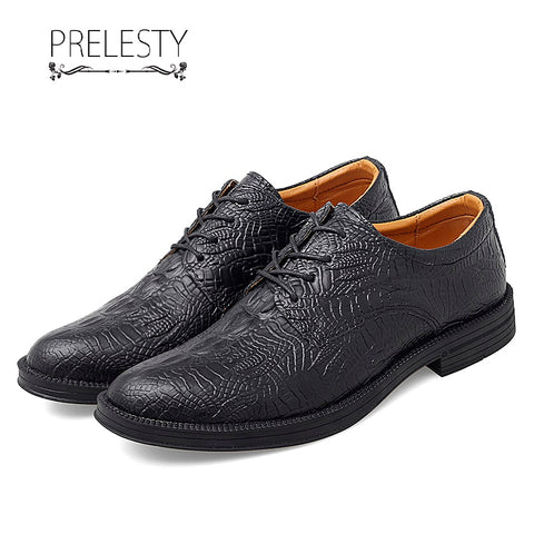 Prelesty Classic Italian Design Men Formal Office Shoes Crocodile Business Wedding Handsome