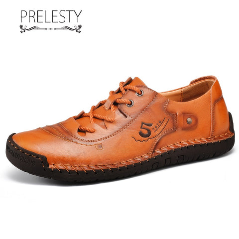 Prelesty Summer Handmade Genuine Leather Men Driving Shoes Lace Up Moccasin Lightweight Low Cut Design