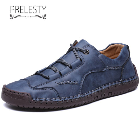 Prelesty Spring Fashion Casual Loafer Cow Leather Men Driving Shoes Breathable Moccasin High Quality Durable