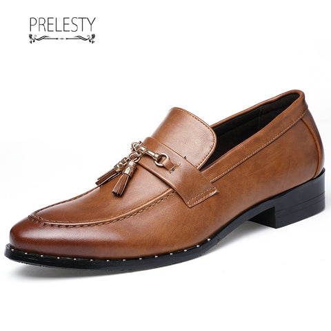 Prelesty Smart Luxury Designer Party Dress Leather Tassel Shoe Male Formal