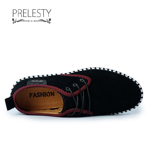 Prelesty Big Size Soft Suede Leather Men Driving Casual Shoes Cool Moccasin Breathable Comfortable