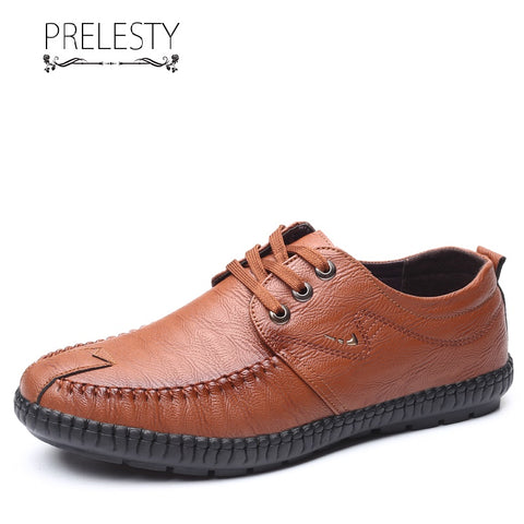Prelesty Classic Italian Style Formal Good Soft Men Dress Shoes Lace Up Office Wedding Breathable Comfortable