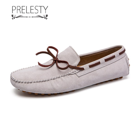 Prelesty Large Size Men Dress Shoes Official Handmade Comfortable Cow Leather Driving Bowknot