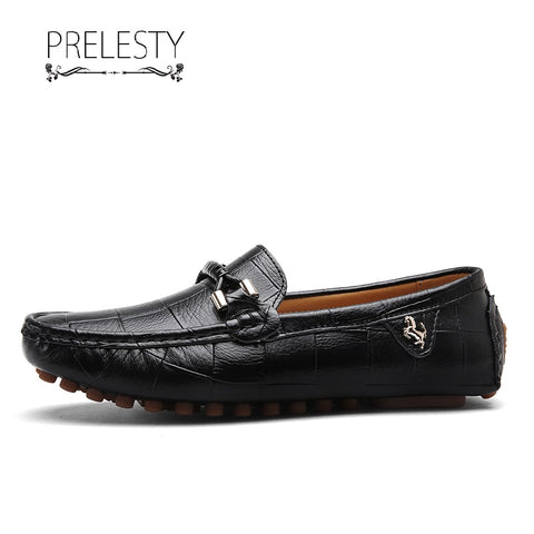Prelesty Korean Style Leather Men Formal Loafer Tuxedo Shoes Smart Party Business Plaid Comfortable