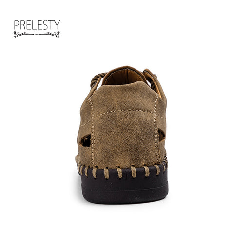 Mens Sandals Genuine Leather Holes Design Outdoor