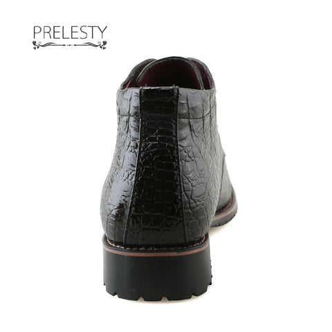 Classic Men Dress Shoes High Top Boots Motorcycle Crocodile