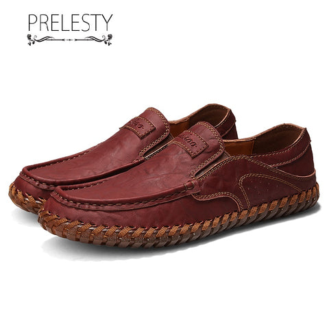 Prelesty Fashion Soft Leather Men Dress Shoes Men Comfortable Driving Business