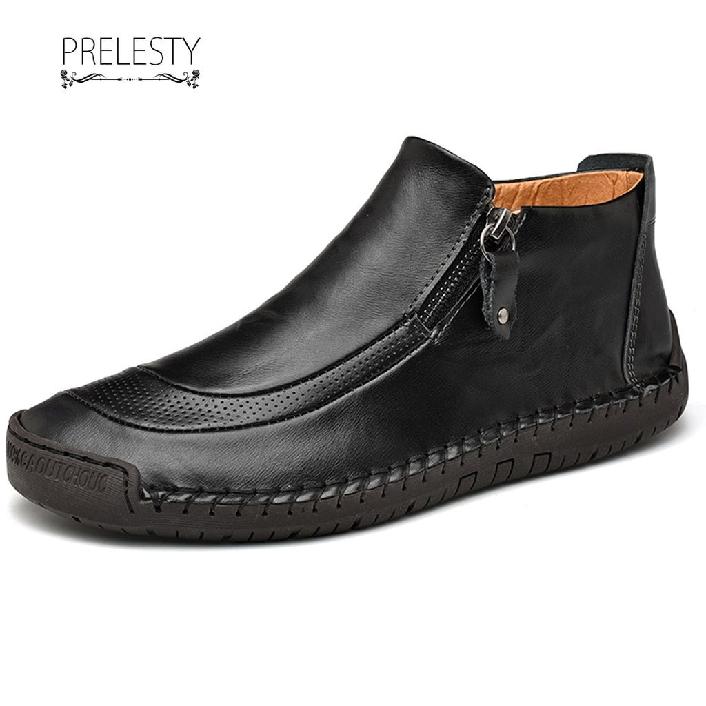 Prelesty Big Size 38~48 Modern Winter Men Ankle Boots Zipper Shoes Vintage Premium Leather Handsome