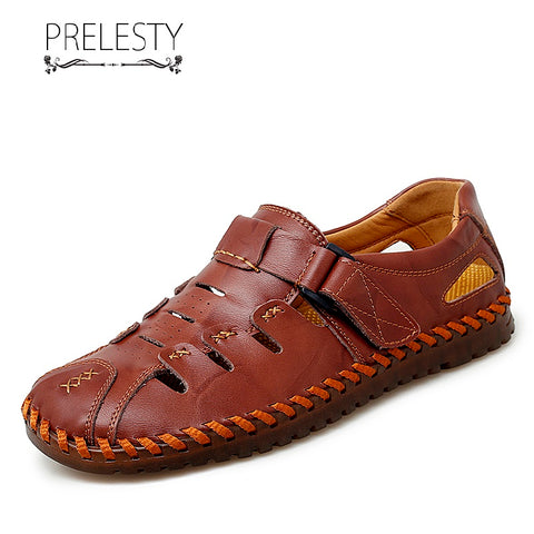 Prelesty Summer Cow Leather Men Sandal Straps Shoes Outdoor Breathable Beach Waterproof Good High Quality