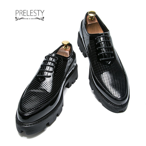 Prelesty Shining Men Dress Shoes Formal Oxfords Office Meeting Platform Wedding