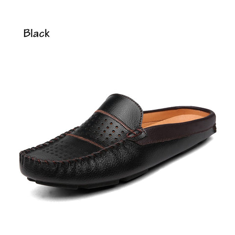 Men's Backless Leather Loafers