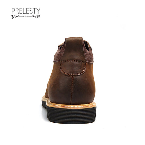 Prelesty Handsome Cool Winter Men Riding Boots Shoes Vintage English Style Round Toe