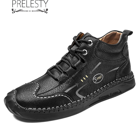 Prelesty Classic Breathable Good Leather Men's Ankle Boots Shoes High Tops Comfortable