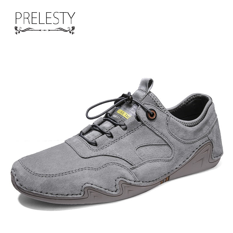 Prelesty Fashion Soft New Men Driving Shoes Loafer Genuine Cow Leather Walking Comfortable