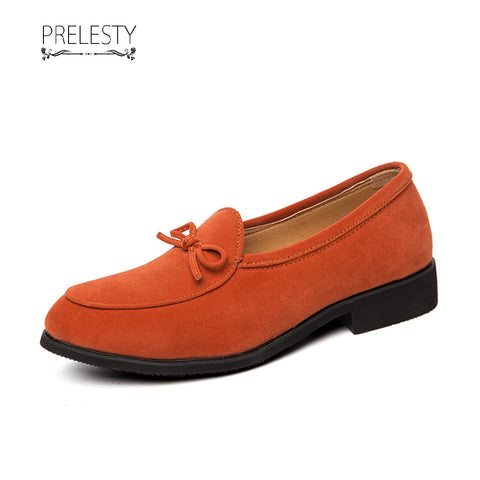 Prelesty Big Size Vintage Men Formal Business Slip On Shoes Dress Suede Bowknot High Quality