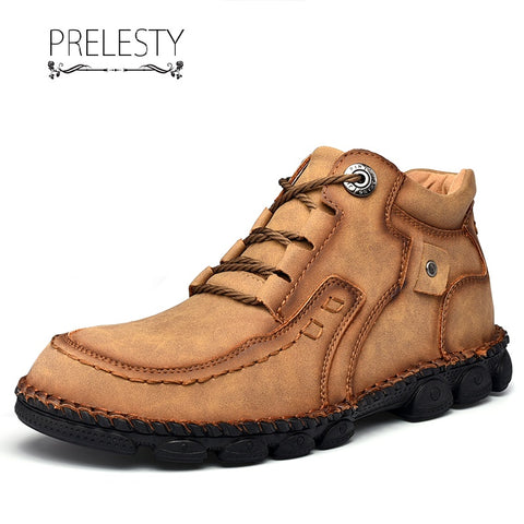 Prelesty Classic Fashion Soft Genuine Cow Leather Men's Boots Shoes Breathable Handsome Durable