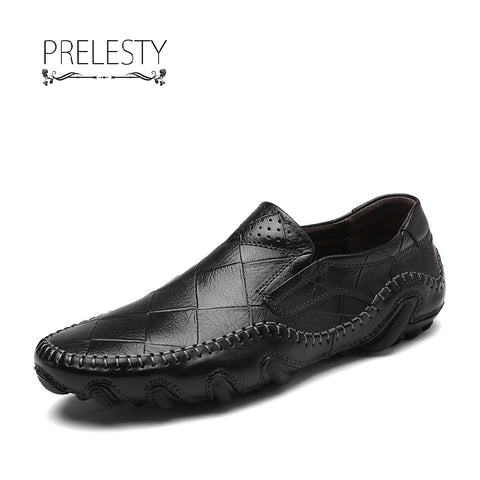 Prelesty Retro Handmade Men Casual Genuine Leather Oxfords Loafers Slip On Formal Driving