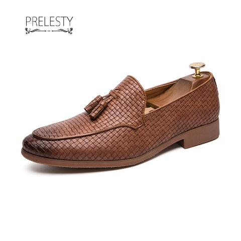 Prelesty Men Dress Penny Loafers Gentleman Fashion Party Formal Shoes Plaid Pattern