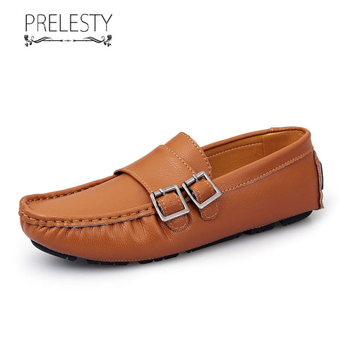Prelesty Fashion Cow Leather Men Driving Shoes Moccasin Handsome Breathable Loafer Rubber Bottom Buckles