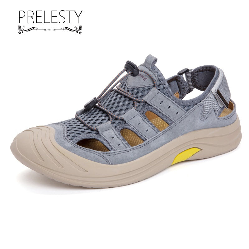 Prelesty Summer Men Hiking Mountain Shoes Genuine Leather Waterproof Outdoor Breathable High Quality Durable