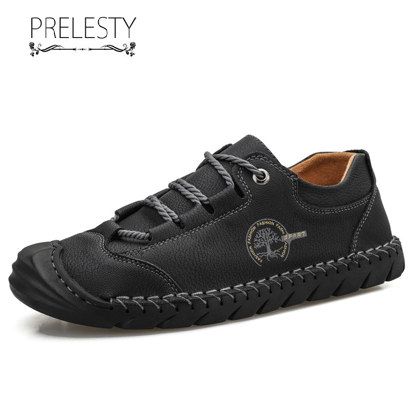 Prelesty Big Size 38-48 High Quality Men Dress Shoes Formal Handmade Cow Leather Cap Toe Protection