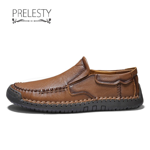 Prelesty Handmade New High Quality Cow Leather Men Driving Loafer Shoes Casual Breathable Handsome