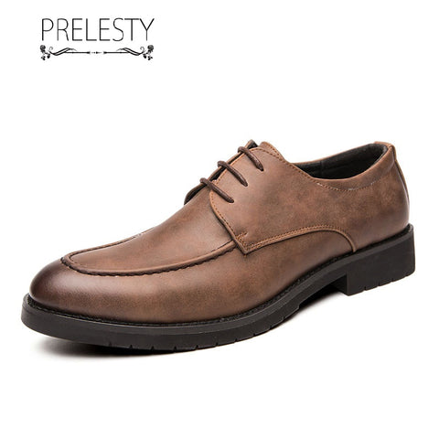 Prelesty Elegant Men Formal Brogues Shoes Business Smart Flat Rubber Party