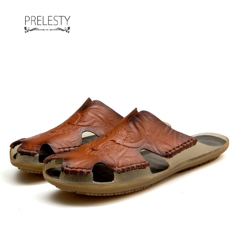 Prelesty Summer New Comfortable Men Sandal Shoes Split Leather Outdoor Flexible