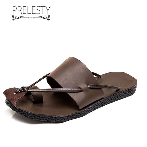 Prelesty Summer Men's Leather Gladiator Sandal Outdoor Beach Shoe Breathable Waterproof Durable Use