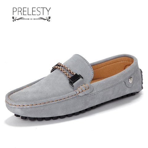 Prelesty Fashion Men Dress Shoes Formal Comfortable Genuine Suede Leather Driving Cool Lightweight