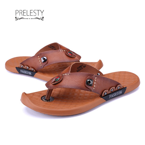Prelesty Summer New Men Split Cow Leather Flip Flops Cool Simple Design