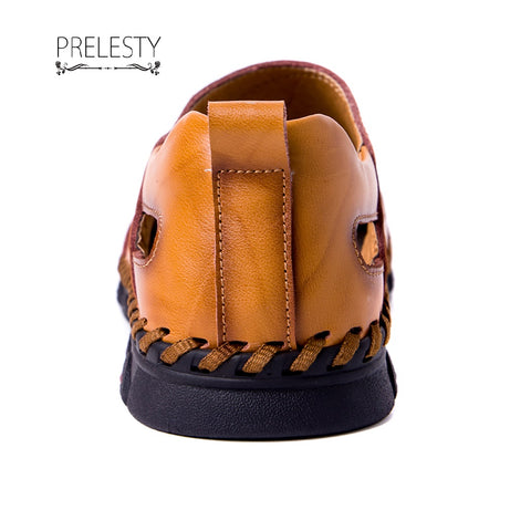 Prelesty Cool Summer Men's Cow Leather Outdoor Sandals Shoes Breathable Cap Toe Design